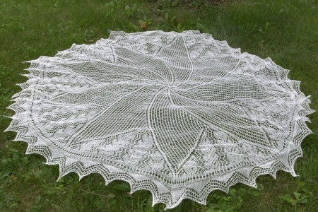 Wedding Shawl - Blocked